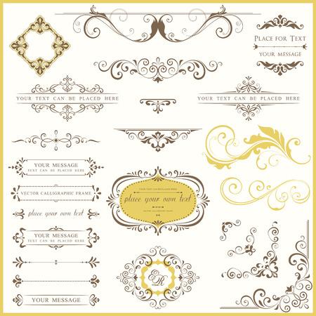 Vector set of ornate calligraphic vintage elements and page decorations. Ilustração
