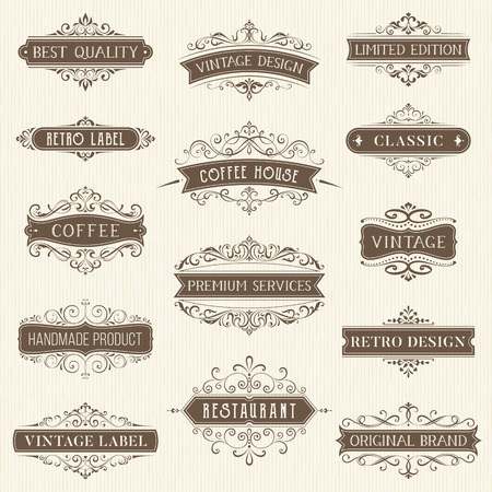 Vector set of ornate calligraphic vintage labels