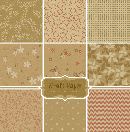 paper vector seamless patterns. Can be used for wallpaper and textile design, pattern fills, website backgrounds, surface textures and book design. Ilustração
