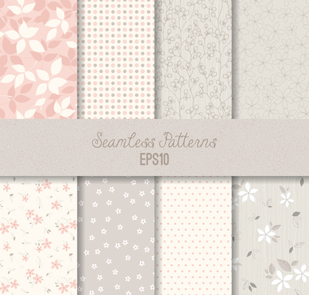 pastel backgrounds: Vector seamless patterns. Can be used for wallpaper and textile design, pattern fills, website backgrounds, surface textures and book design. Illustration
