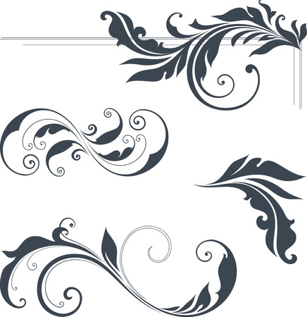 scroll: Vector swirl ornate motifs. Use for wedding invitations, royal certificates, greeting cards, menus, programs, covers, posters, brochures and flyers.