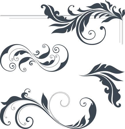 schriftrolle: Vector wirbeln verzierten Motive. Verwenden Sie für Hochzeitseinladungen, königliche Zertifikate, Grußkarten, Menüs, Programme, Briefe, Plakate, Broschüren und Flyer. Illustration