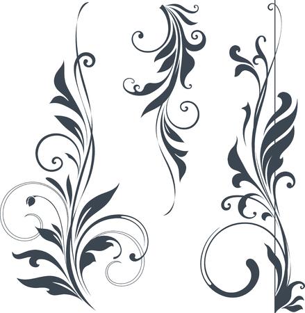border vintage: Vector swirl ornate motifs.