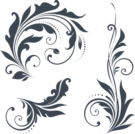 Vector swirl ornate motifs.