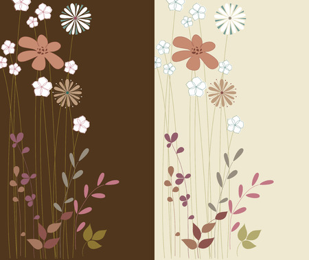 Floral cards design. Use for printed materials, invitations, greeting cards, covers, placards, posters, postcards and brochures. Ilustração