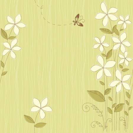 Seamless floral card with butterfly. Use for printed materials, invitations, greeting cards, covers, placards, posters, postcards and brochures. Ilustração