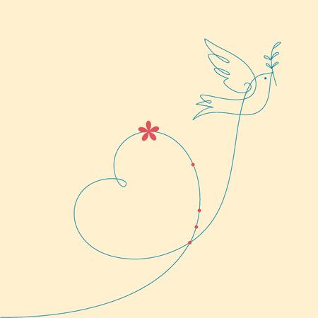 Dove und Herz. Friedenstaube mit Ölzweig. Vektorgrafik