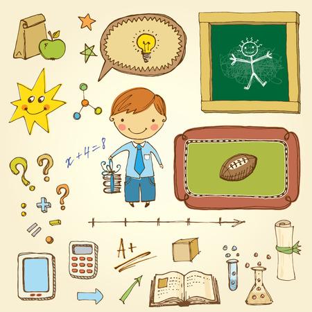 Vector school design set with cute little boy.