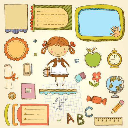 Vector school design set with cute little girl.