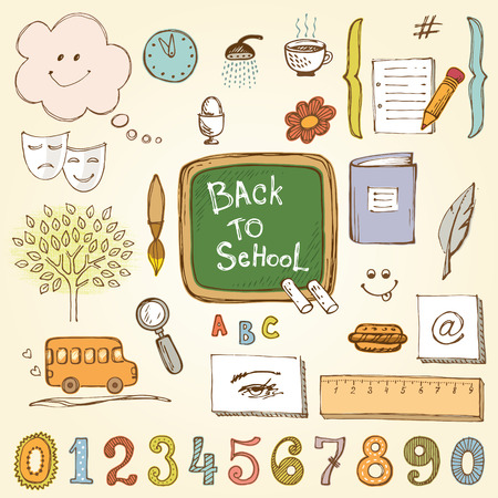 pencil and paper: Vector school design set. Based on an ink drawing.