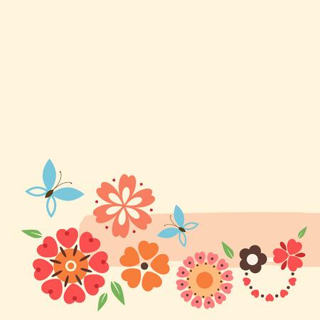 bordure de page: Floral card avec des fleurs décoratives et papillon.