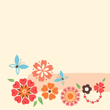 Floral card with decorative flowers and butterfly. Illustration