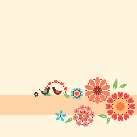 Floral card with decorative flowers and birds.