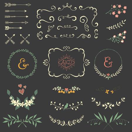 Wedding graphic set with swirls, arrows, laurels, wreaths, branches and bird. Illustration