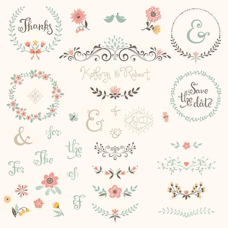 Ensemble graphique de mariage avec des tourbillons, des lauriers, des couronnes, des branches, des fleurs, des oiseaux, des papillons, des mots-clés et des mots-clés.