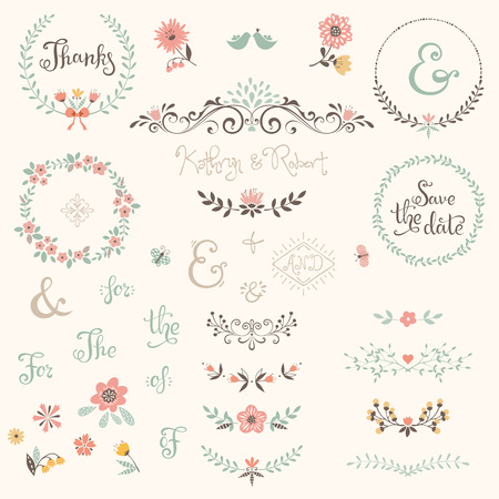 Wedding graphic set with swirls, laurels, wreaths, branches, flowers, birds, butterflies, catchwords and ampersands.