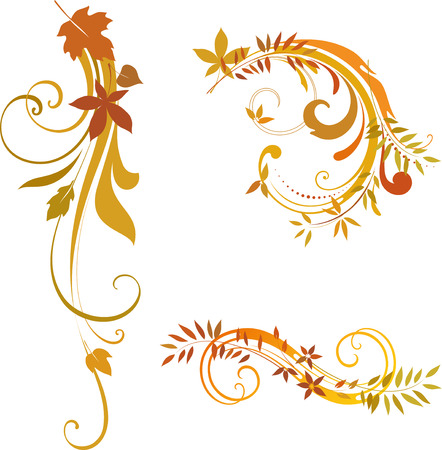 Vector autumn scrolls. Elements can be ungrouped for easy editing.