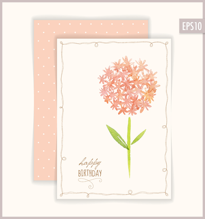 Vector Happy Birthday card. Based on watercolor flowers.