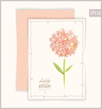 flores de cumpleaños: Vector Happy Birthday card. Based on watercolor flowers.