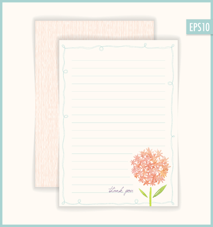 Vector Thank You card. Based on watercolor flowers.