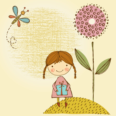 Vector card design with cute little girl, butterfly, gift and flower.