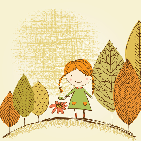 Vector card design with cute little girl. Based on an ink drawing. Illustration