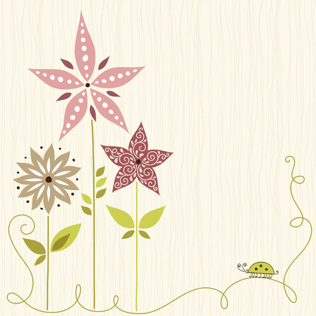 vintage floral: Floral card with seamless background.