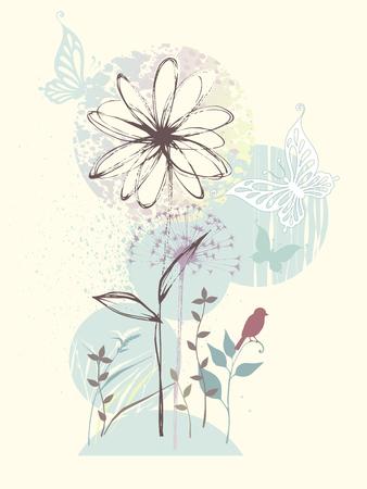 Hand drawn floral design with butterflies, birdie, flower and dandelion. Illustration