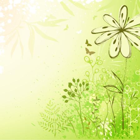 Hand drawn floral card. Ilustração
