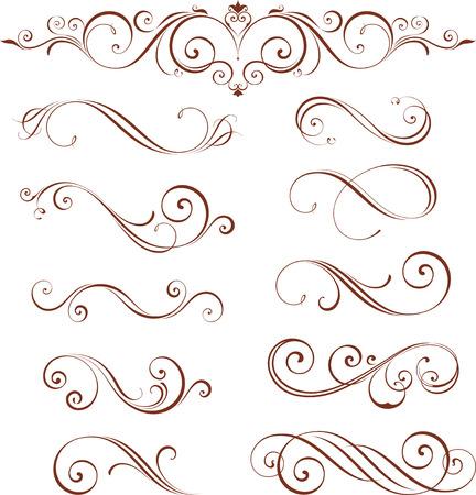 Remolino de vector con motivos ornamentales. Los elementos se pueden desagrupar para facilitar la edición.