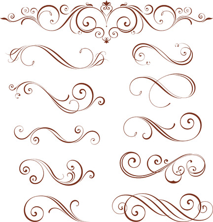 dividing: Vector swirl ornate motifs. Elements can be ungrouped for easy editing.