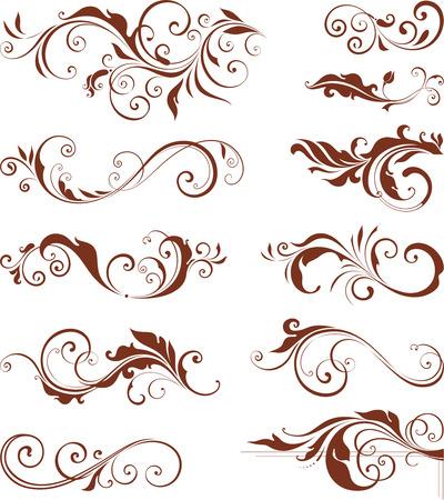 ベクトル渦巻き模様の華やかなモチーフ。  イラスト・ベクター素材