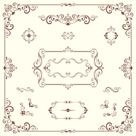 Vector swirl ornate motifs and frames.