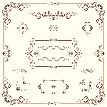Vector swirl ornate motifs and frames.