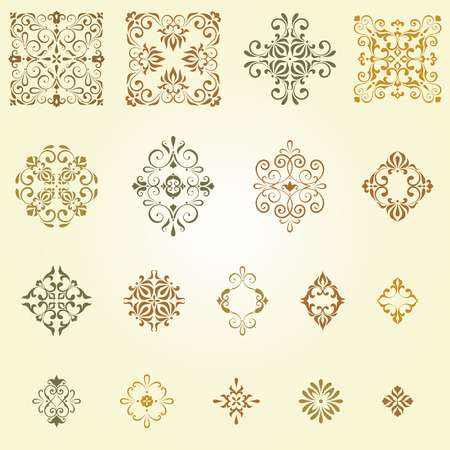 Vector arabesques and swirl ornate motifs. Can be used for creation damask seamless patterns.