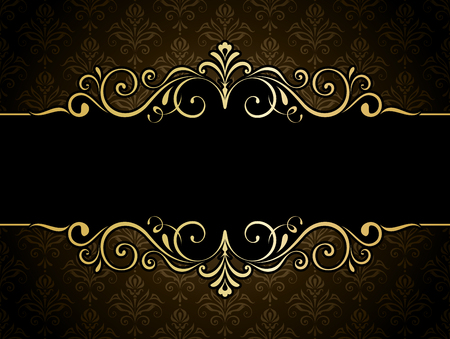 Ornate golden frame banner with damask seamless background.