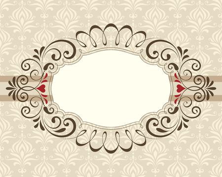 Valentines swirl ornate frame, banner. Damask seamless background.