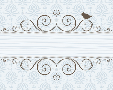 Ornate banner with bird. Damask seamless background.