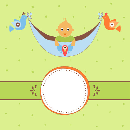Baby banner. Background texture is a seamless pattern.