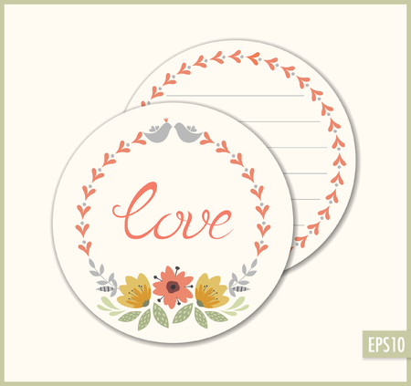 Romantic vector circle card with floral wreath and birds. Ilustracja