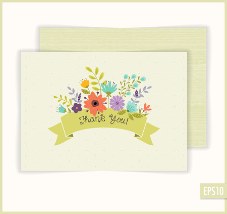 Lovely floral thank you card. Vector illustration.