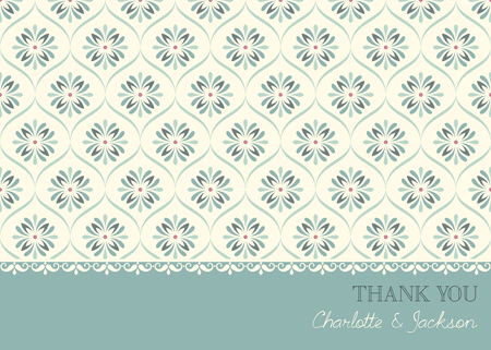 Vector thank you card template. Seamless background.