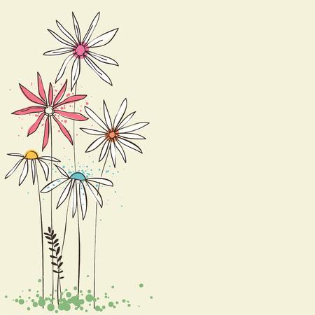 Doodle floral card. Illustration