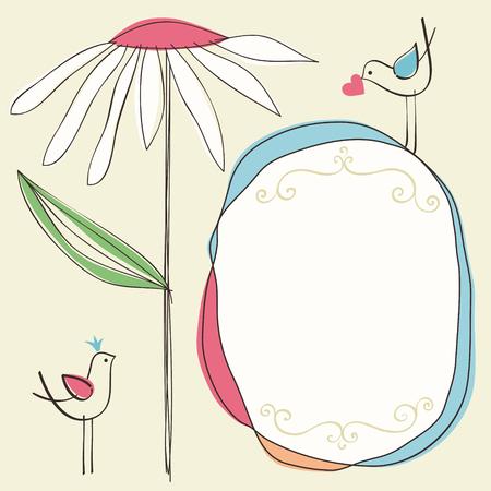 Doodle flower, frame, birds and scrolls.