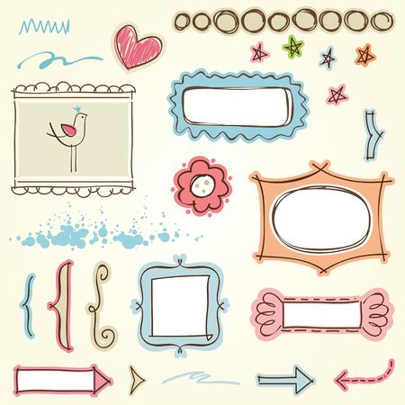 Doodle frames and motifs.