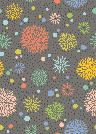 Abstract floral hand drawn seamless pattern.
