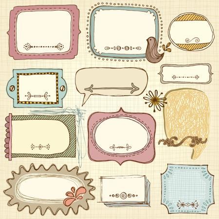 photo frames: Vector frames design. Based on an ink drawing. Seamless background.