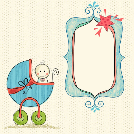 Doodle baby frame banner with baby carriage and boy.