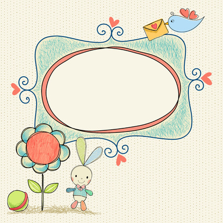 Doodle baby frame banner with flower, bunny and bird.