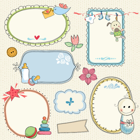 Hand drawn frames, banners with baby elements. Seamless background.